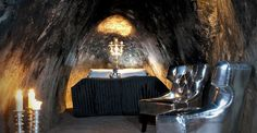 two-person suite located in an old #silver mine 509 feet underground. A night in the Mine Suite at Sala in #Sweden #Silvermine will cost you $580 and includes a tour of the mine, a basket of refreshments, and breakfast in the morning