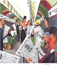 Watercolour with pen and ink, originally for 'This is London' (1959). Compare this with Cyril Power's 'Tube Train': in each we find particularized figures, but here we have the besuited gent; the businessman in top hat perusing the Telegraph; the Sikh in his turban and the bespectacled man clinging to the handle above his head. …