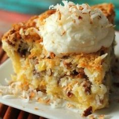 Island Pecan Pie - sugar - corn meal - flour - 5 eggs - pecans - crushed pineapple - flaked coconut - butter - pie shell or crust