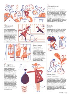 Roman Muradov — A bunch of spots for the Monocle's 15 ways to. Editorial Design Layouts, Magazine Layout Design, Magazine Illustration, Simple Illustration, Graphic Illustration, Buch Design, Up Book, Newsletter Design, Magazines For Kids