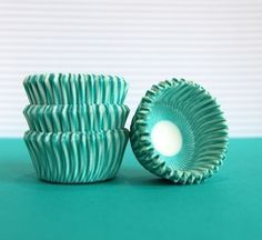 Mini Cupcake Liners 50 Teal Striped Baking Cups by CupcakeSocial, $3.00