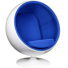 $1,200.00 | LexMod Eero Aarnio Style Ball Chair in Blue, Futuristic Furniture, Blue Chair, Modern Furniture, Futuristic Interior, 1970's Home, Retro-Futuristic, Sci-Fi Room, Modern Chair | FuturisticSHOP.com