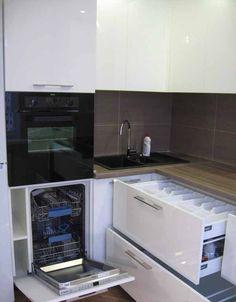 Дизайн Г-образной белой кухни 9 кв.м (10 фото)