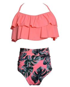 a57de413c0 Ruffle Flounce Crop with High Waist Bottom Bikini Sets