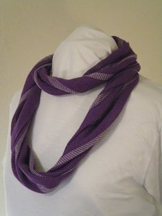 Infinity Scarf in Purple and Silver  Hand by Project31FiberArts
