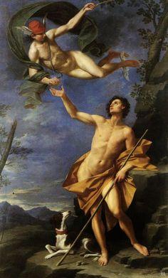 Mercury And Paris. 1745. Donato Creti. Italian. 1671-1749. [winged feet, winged hat, red hat, canopy veil of the Firmament/Heavens]