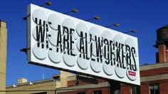 Billboard for Levi Strauss & Co. using working cogwheels. Design Firm: Sagmeister Inc. Art Director: Stefan Sagmeister. Designer: Jessica Walsh