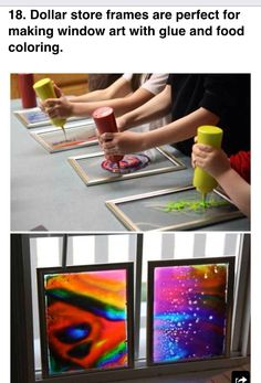 frames are perfect for making window art with glue and food coloring. Dollar-store frames are perfect for making window art with glue and food coloring.Dollar-store frames are perfect for making window art with glue and food coloring. Dollar Store Crafts, Dollar Stores, Dollar Store Hacks, Diy Y Manualidades, Art Diy, Diy Artwork, Creative Artwork, Window Art, Camping Crafts