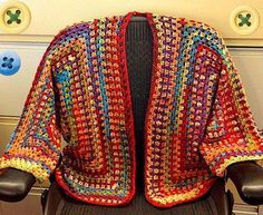 There are unique jacket, yes it's DIY Crochet Granny Square Jacket Cardigan Free Patterns Inspirations that will enhanced you styles. Crochet Coat, Crochet Jacket, Crochet Cardigan, Crochet Scarves, Crochet Shawl, Crochet Clothes, Crochet Sweaters, Diy Crochet Granny Square, Rainbow Cardigan