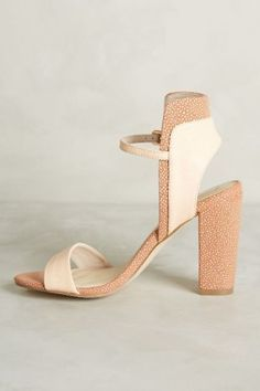 41a4560915e99 Sky high ankle strap heels with unexpected two-two texture -- perfect for  everything