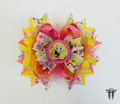 Girl`s Large OTT Spongebob Squarepants Pink Yellow Hair Bow #FemmortalFashions
