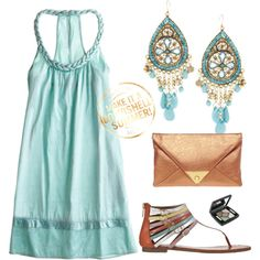 Have a similar dress in Navy and have these sandals with the dark blue/teal/green shades! Now I want this outfit too!!