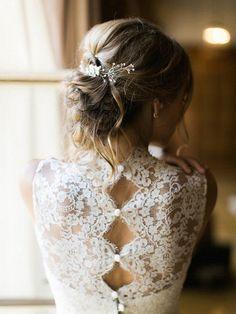 vintage lace back detail wedding dress