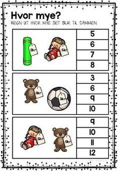 Jeg øver - tall og regning by LaerMedLyngmo Math For Kids, Teacher Pay Teachers, Kids Education, Teaching Math, First Grade, School, First Class, 1st Grade Centers
