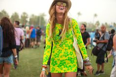 50+ Stylish Folks Who Rocked Coachella #refinery29  http://www.refinery29.com/coachella-style#slide60  Lemon yellow and lime green make a refreshing combination.