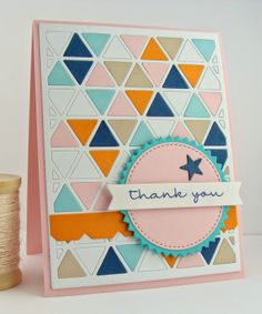 MFT: Triangle Screen die-namics, Stitched Circle stax, Award Seal, Sentiment Strips, Accent-it Calendar Components, Notched Border Die, Forget Me Not stamp set. http://simplyhandmadebyheather.blogspot.com/2014/04/thank-you-triangles.html
