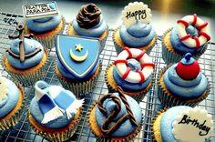 football and sailing cupcakes