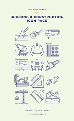 Series of 100 pixel-perfect icons, created by influence of construction, building and home repair. This set includes icons of different types of building, tool Web Design, Icon Design, Logo Design, Library Icon, Building Icon, Ui Patterns, Line Icon, Home Repair, Designs To Draw