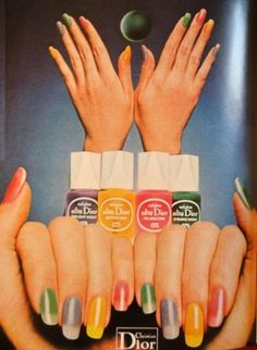 1973!! Yes! 1973 nail polish colors, by Christian Dior, showing a rainbow of polish colors, and a polishing style that should look familiar, with the whites of the nails remaining unpolished, or barely polished and mostly white!