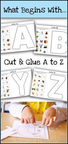 What Begins with A to Z Alphabet Phonics, Alphabet Crafts, Preschool Letters, Preschool Curriculum, Learning The Alphabet, Letter A Crafts, Preschool Classroom, Preschool Learning, Kindergarten Activities