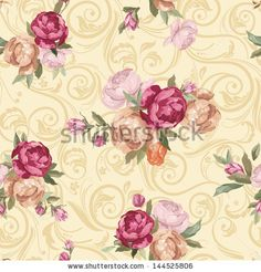 Fotos stock Vintage Flower Pattern Rose Color, Fotografia stock de Vintage Flower Pattern Rose Color, Vintage Flower Pattern Rose Color Imagens stock : Shutterstock.com