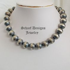 Schaef Designs Jewelry Large Seamless heavy sterling silver navajo pearl necklace | Native American, southwestern, & turquoise Jewelry | Schaef Designs Jewelry | New Mexico