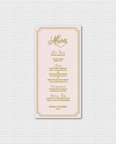 PRINTABLE Wedding Menu Card - Elegant Blush and Gold Script and Frame Menu Card - Single Page - Whimsical Script  Suite