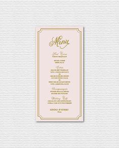 PRINTABLE Wedding Menu Card - Elegant Blush and Gold Script and Frame Menu Card - Single Page - Whimsical Script  Suite