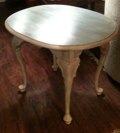 Painted side table in Annie Sloan chalk paint old ochre and Louis blue with dark wax.