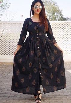 Black Block Print Maxine Ml Frock Fashion, Indian Fashion Dresses, Indian Designer Outfits, Fashion Outfits, Sleeves Designs For Dresses, Dress Neck Designs, Stylish Dress Designs, Stylish Kurtis Design, Girls Frock Design