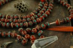 Horn: Red, Brown Yak Horn Beads, Inlaid with Coral, Turquoise, Brass /10mm Rondelle 10 beads / Natural Nepali Craft, Jewelry Making Supplies
