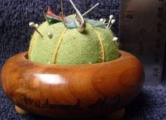Vintage Wooden Base Pincushion