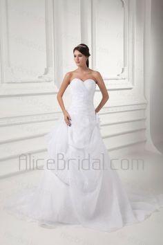 Organza Sweetheart A-line Sweep Train Hand-made Flower Wedding Dress - Alice Bridal
