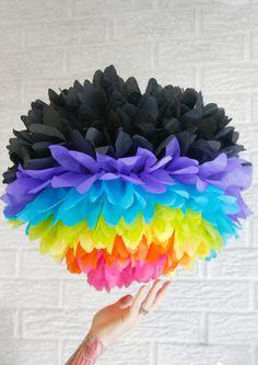 party decoration ... JUMBO neon rainbow ... 1 Tissue paper pom //weddings // nursery // baby shower // birthday party // teen sleepover // on Etsy, $6.00