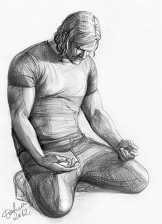 by Wesley Wofford titled: 'Surrender (Small nude Kneeling Muscular Man statue)'. Human Figure Sketches, Human Sketch, Human Figure Drawing, Figure Sketching, Body Drawing, Drawing Eyes, Anatomy Drawing, Life Drawing, Drawing Sketches