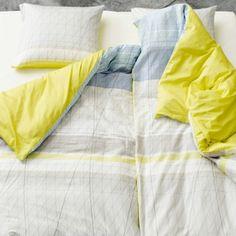 S&B Colour Block pussilakana ja tyynyliina, keltainen