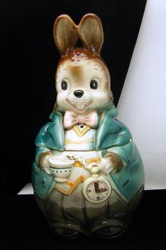 Alice in Wonderland ceramic bunny cookie jar