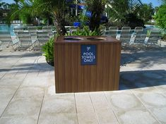 Pool towel return bin...another outdoor option we offer to our customers. #resortlife #hospitality #madeinusa #outdoorfurniture Wood Furniture, Outdoor Furniture, Outdoor Decor, Pool Towels, Hospitality, Home Decor, Timber Furniture, Decoration Home, Room Decor