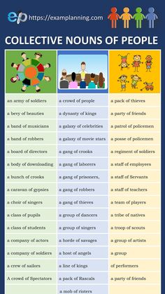 243 Collective Nouns (List of People, Animals and Things) - ExamPlanning % Teaching English Grammar, English Writing Skills, English Vocabulary Words, Learn English Words, English Phrases, Grammar Lessons, English Language Learning, English Lessons, Teaching Nouns