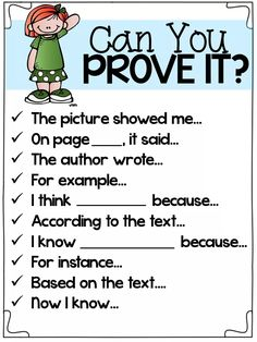 Can You Prove It? Great sentence starters