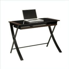 """Corvus 43"""" Computer Desk in Black Finsh with Black Glass by OSP. $113.88. Length 23.5. Large Pull Out Keyboard Tray. Black Tempered Glass Top. Wood / MDF Trim with Espresso Melamine. Black Powdercoated Metal Legs and Accents. OSP Designs Corvus 43"""" Computer Desk in Black Finsh with Black GlassWidth 43.5Assembly Required YESFinish Black FinishHeight 30Color Black Finish"""