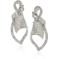Suzy Levian Cubic Zirconia Sterling Silver Art Deco Pave Earrings (315 BAM) ❤ liked on Polyvore featuring jewelry, earrings, white, cz earrings, cz jewellery, earring jewelry, deco earrings and art deco jewelry