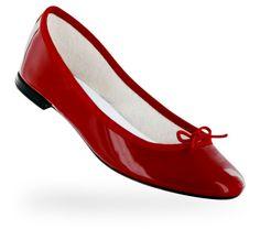Ballerine Cendrillon Rouge flamme Vernis  Repetto