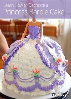 How to Decorate a Princess Barbie Cake My mom made these cakes back in the 1965. She made me a bride cake like my wedding dress and out of soup cans she made my bridemaids dress for my shower.