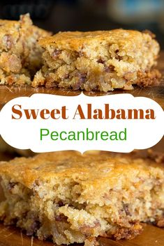 Sweet Alabama Pecanbread If there's any left by the time you finish dinner, then, by all means, . Pecan Bread Recipe, Pecan Recipes, Bread Recipes, Cake Recipes, Dessert Recipes, Cooking Recipes, Cooking Ideas, Desserts With Few Ingredients, Cornbread Cake