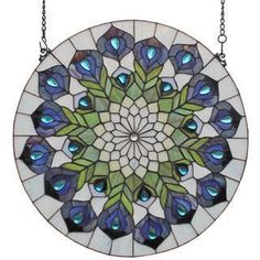 Peacock Feathers Window Panel $152.99 www.allthingspeacock.com - Peacock Stained Glass