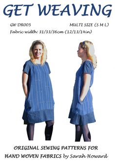 GW DR005 S-XL raglan sleeve dress sewing pattern for handwoven fabric has…