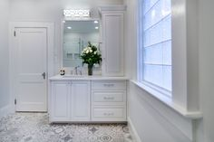 These dazzling Morroccan-inspired tiles, with intricate patterns, added just the right amount of character for this classic style white bathroom remodel. Classic White Bathrooms, Bathroom Countertops, Double Vanity, Classic Style, New Homes, Bathtub, Woodworking, Cabinet, House