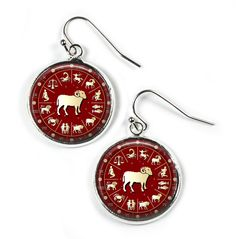ARIES Zodiac Star Sign - Glass Picture Earrings - Brown - Silver Plated (Art Print Photo) by RosettaLondon on Etsy