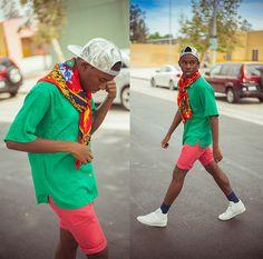 Pink Shorts, Vintage Print Scarf, Reebok Freestyle White, Holographic Snap Back